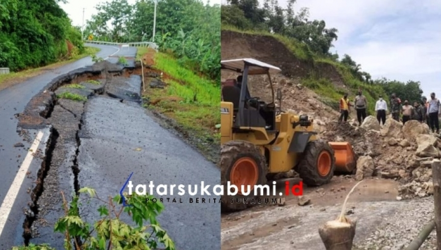 11 Titik Longsor dan Jalan Amblas di Geopark Ciletuh Sukabumi