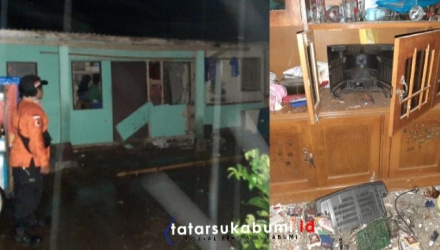 Televisi dan Bagian Depan Rumah Warga Sukalarang Sukabumi Jebol Disambar Petir