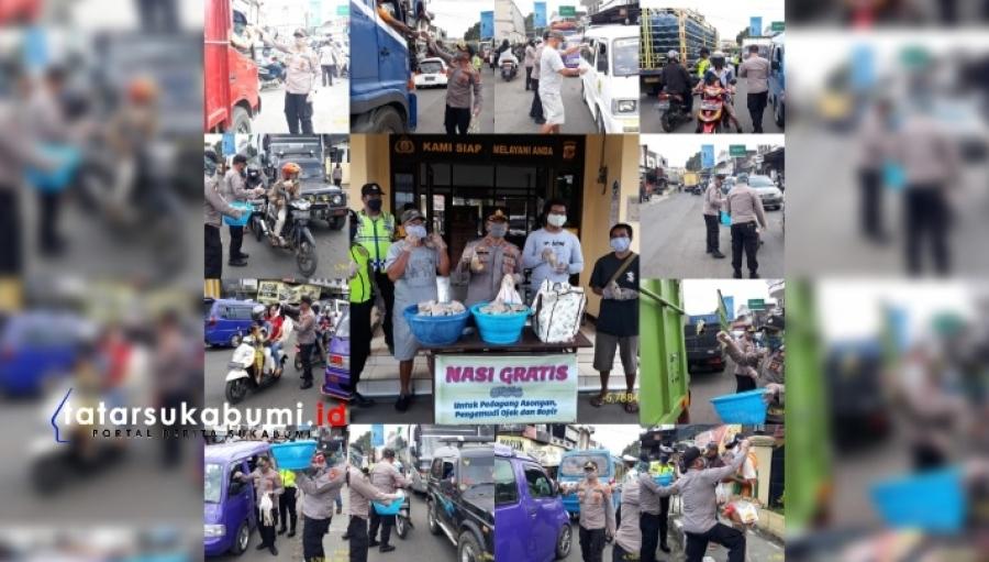 10 Hari Hingga Ramadhan Polsek Cicurug Bagikan Seribu Nasi Bungkus Dua Ribu Bubur dan Ribuan Masker Gratis