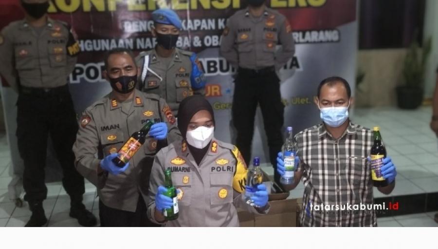 Ribuan Botol Minuman Beralkohol Diamankan Polres Sukabumi Kota