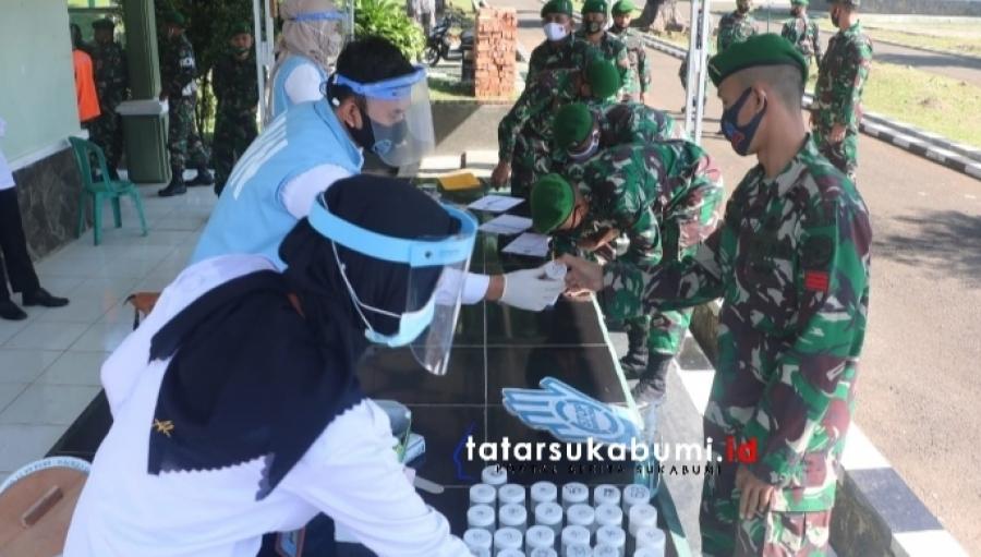 BNNK Sukabumi Uji Screening Narkoba Anggota Yonif 310 Kidang Kancana