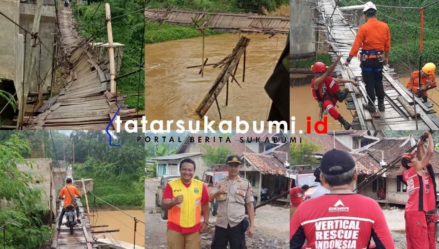 4 Kampung di Cibitung Sukabumi Sempat Terisolasi Akibat Jembatan Gantung Nyaris Terputus