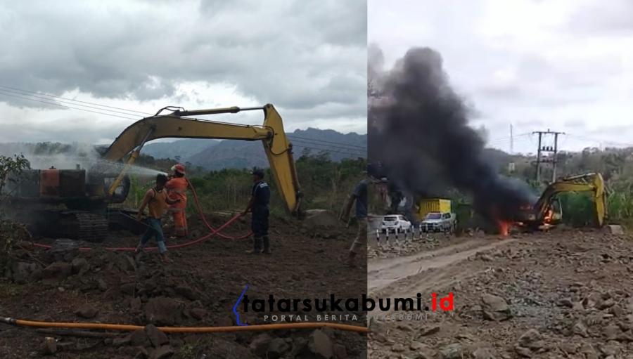 Excavator Terbakar di Bantargadung Sukabumi