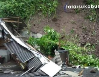 Tebing Longsor Timpa Warung di Ruas Jalan Palabuhanratu - Kiaradua