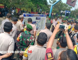 Jelang Pelantikan Presiden Jokowi, Polres Sukabumi dan TNI Gelar Pasukan
