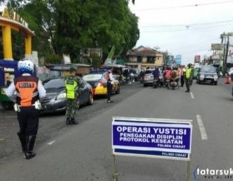 Operasi Yustisi Protokol Kesehatan di Sukabumi Petugas Beri Sanksi Kepada Pelanggar