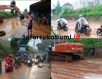 Banjir Lumpur Terjang Ruas Jalan Sukabumi - Palabuanratu
