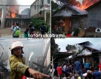 Breaking News! 3 Bangunan dan 1 Gudang di Kawasan Padat Penduduk Cibadak Terbakar