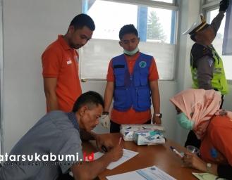 Polres Dishub dan BNNK Sukabumi Tes Urine Awak Angkutan Umum