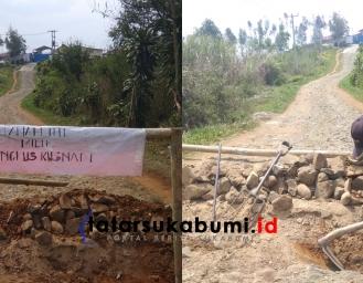 Klaim Tanah Pribadi, Engkus Warga Gegerbitung Sukabumi Bongkar dan Blokade Jalan