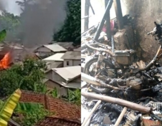 Kebakaran di Kawasan Padat Penduduk Palabuhanratu, 3 Rumah dan Sepeda Motor Dilalap Api